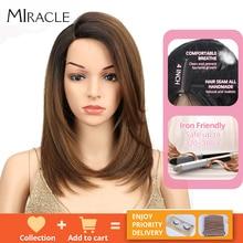 נובל קצר בוב פאה עבור נשים סינטטי שיער צד חלק תחרה 18 חום עמיד טמפרטורה גבוהה סיבי Glueless Ombre ישר פאה