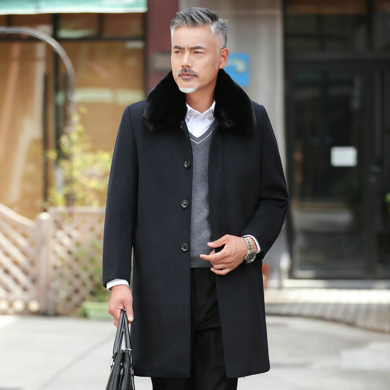 Winter Man Elegant Tweed Coat Fur Turn Down Collar Woollen Blend Overcoat Male Black Gray Single Breasted Overgarment For Men