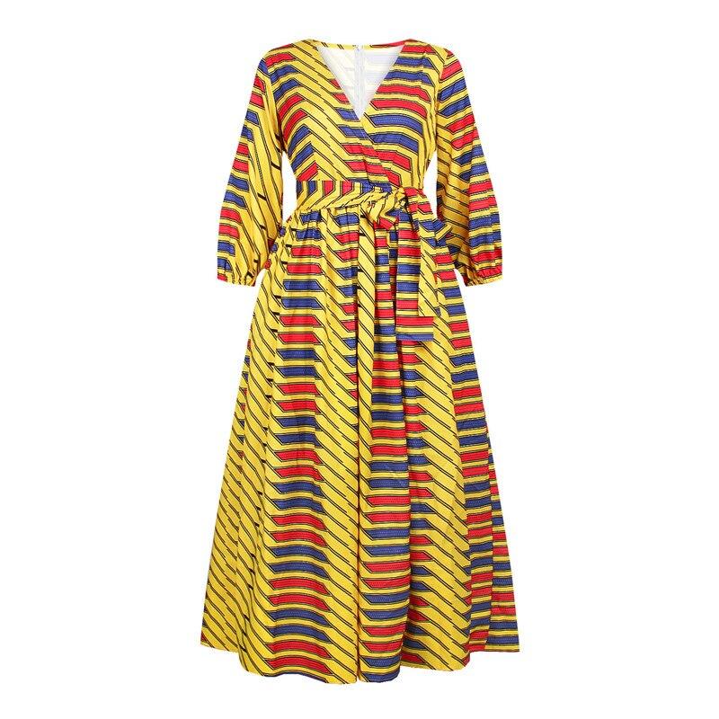 Модные вечерние платья в африканском стиле для женщин, сексуальное платье макси с v образным вырезом, женское платье в африканском стиле с принтом Дашики, платья в Анкаре, женское платье в африканском стиле|Африканская одежда|   | АлиЭкспресс