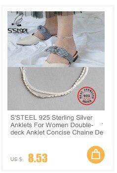 S'aço dupla camada 925 prata esterlina tornozeleiras