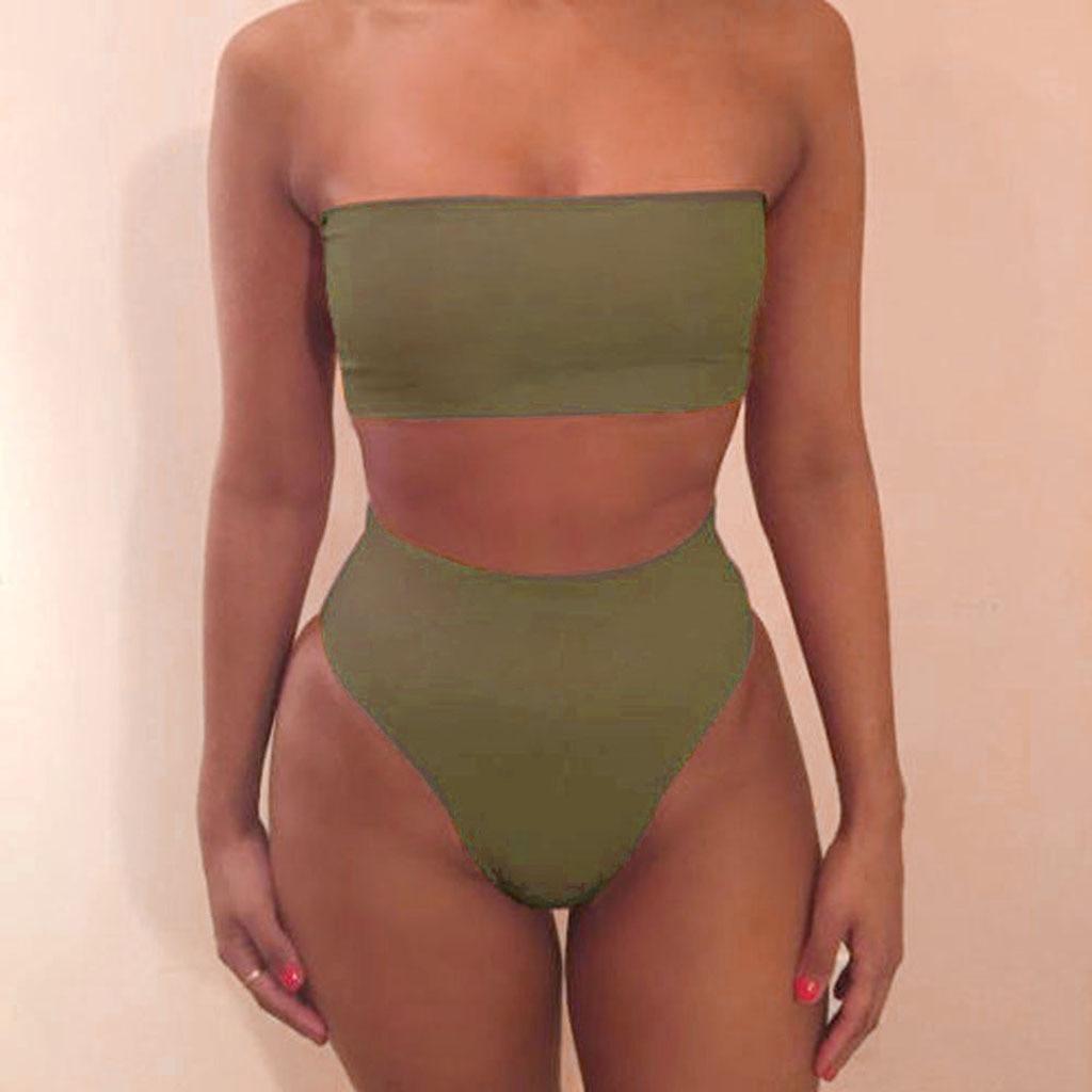 Swimwear Women Bandage Bra Swimsuit Bathing 2pcs Set(China)