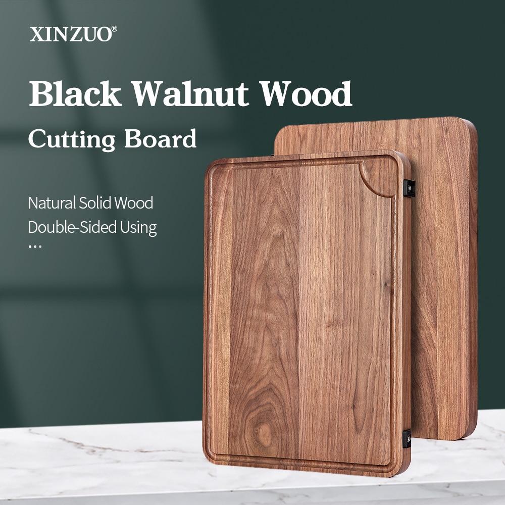 XINZUO Chopping Board Cutting Board Mat Black Walnut Pizza Steak Bread Board Cutting Vegetable Fruit Double-Side Boarding