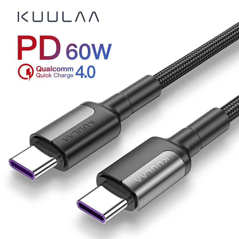 KUULAA USB Type C to USB Type C Cable For Xiaomi Redmi Note 7 60W PD QC 4.0 Quick Charge USB-C Cable For Samsung Galaxy S10 S9