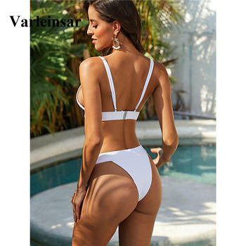 Sexy White Black Brazilian Bikini 2020 Women Swimwear Female Swimsuit Two-pieces Bikini set Bather Bathing Suit Swim Beach V1740 2