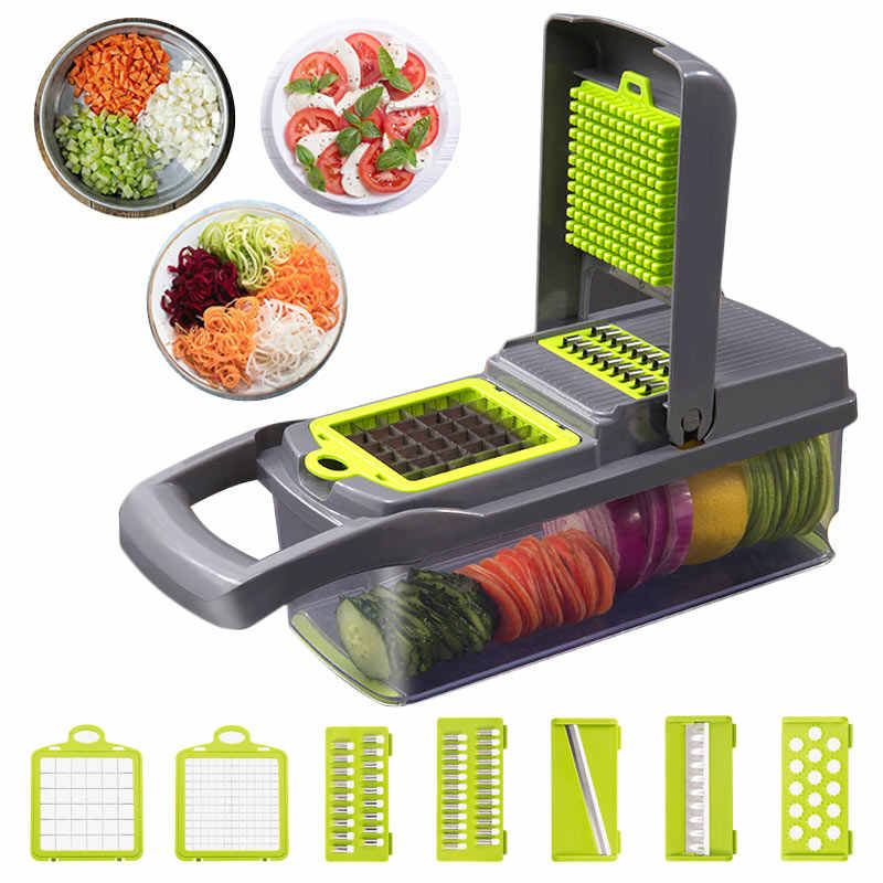Upgrade Vegetable Cutter Multifungsi Mandoline Slicer Pisau Stainless Steel Kentang Buah Pengupas Wortel Parutan Dapur Alat