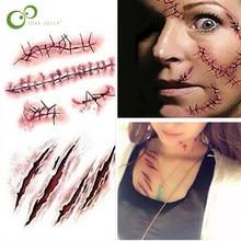 10 Uds del tatuaje etiqueta engomada del tatuaje impermeable de Halloween el Terror de la herida realista sangre lesión día de brujas zombis cicatriz ZXH