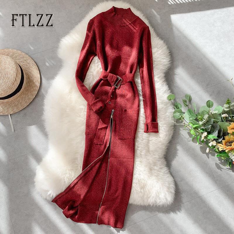 Bodycon Sweater Dress Women Slim With Belt Long Sleeve Zipper Long Robe Autumn Ladies Elegant Knit Bright Party Dresses Vestidos