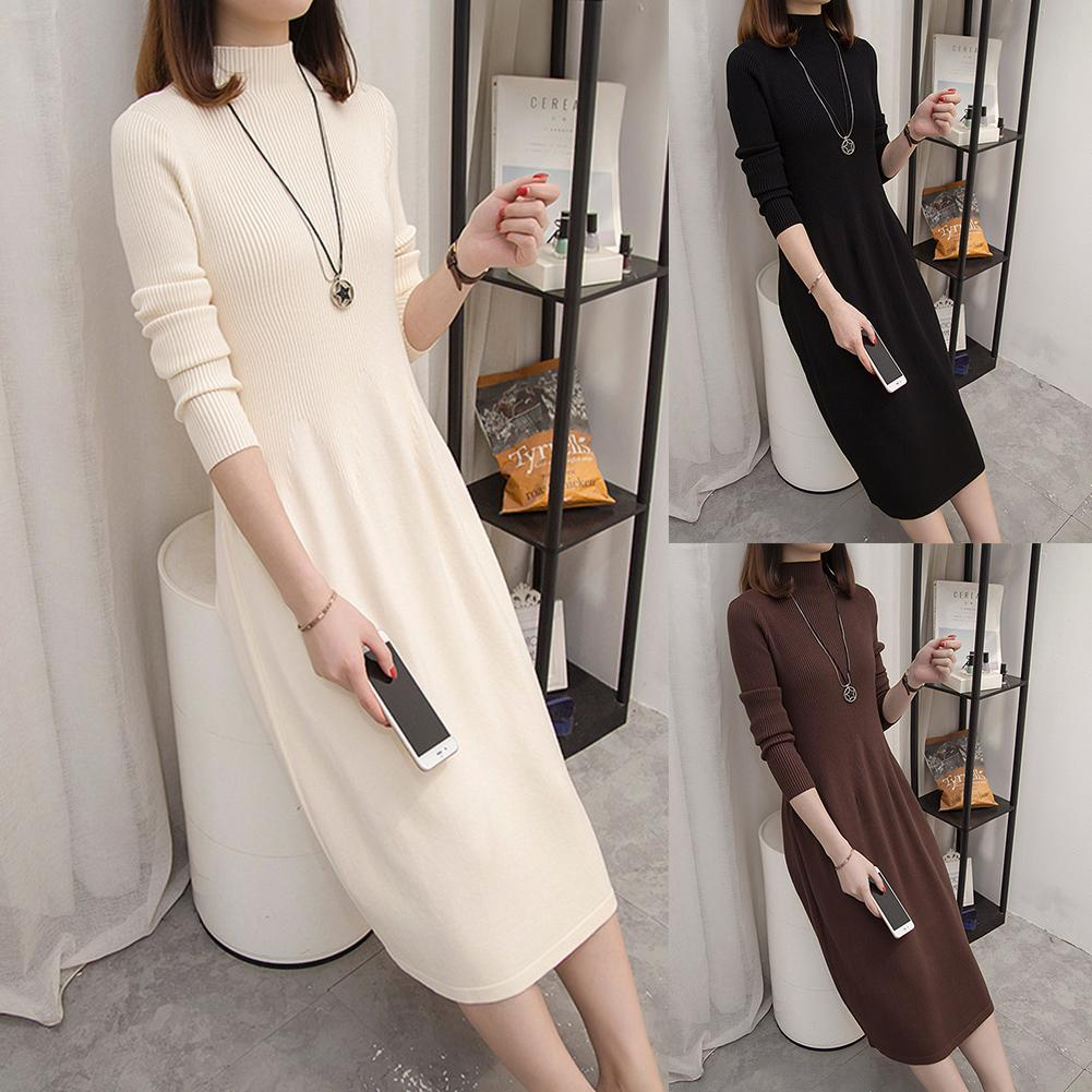 2019 New Trendy Fashion Autumn Winter Plus SizeWomen Dress Lady Solid Color Turtleneck Long Sleeve Knitted Sweater Midi Dress