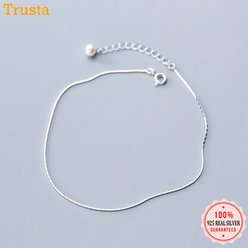 Trustdavis 100% 925 Sterling Silver Snake Chain Artificial Pearls Anklets For Women Fashion Silver 925 Jewelry Wholesale DA387