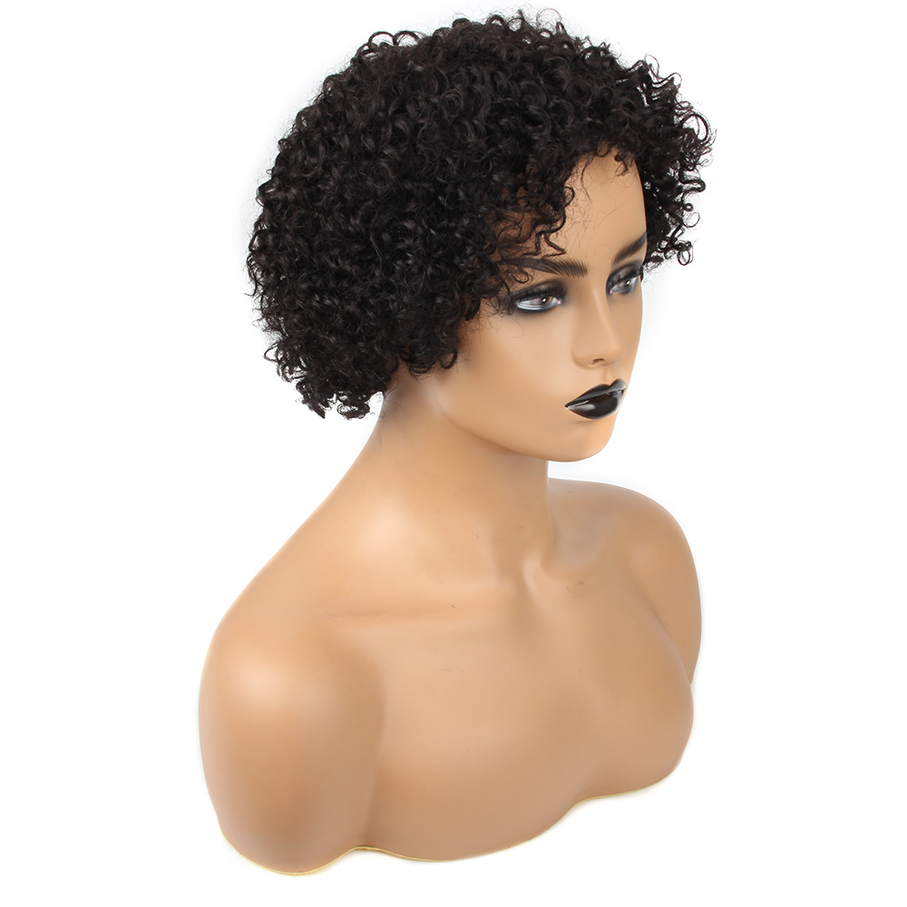 Brazilian Remy Hair Jerry Curl Wig Human Hair Wigs With Bangs Short Human Hair Wigs For Black Women Short Wig Peru