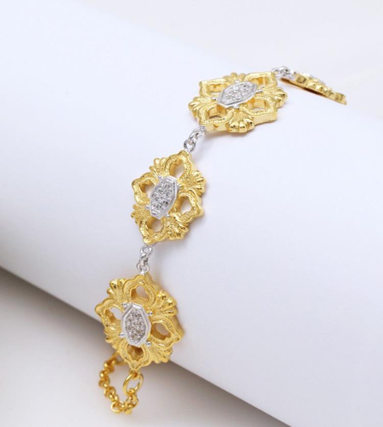 925 пробы серебряные ювелирные изделия Модный золотой Геометрический Цветочный браслет великолепные полые цветы браслет серебряная цепочка цветок браслет