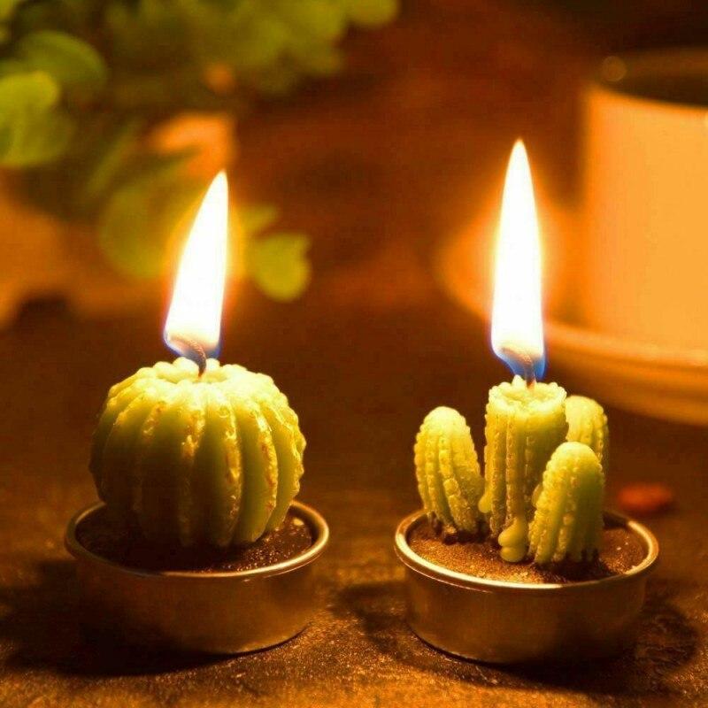 L12pcs plantes succulentes artificielles Cactus bougie pour la décoration de la famille fête d'anniversaire mariage Site décoration bougie fête