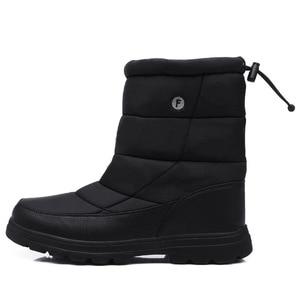 Image 2 - Yweenブーツ男性の雪のブーツ2020新ブラック防水男性の冬のブーツ豪華な非常に暖かいノンスリップ屋外綿靴靴
