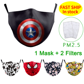 Cotton Face Mask Print Adult Reusable PM2.5 Dustproof Anti-spitting Protective Facemask Washable Facemasks Maske With Filter