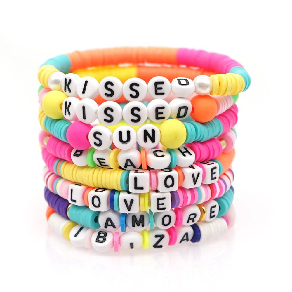 GO2BOHO Boho Bracelet For Women Handmade Bracelets Custom Heishi Disc Beads Letter Pulseras African Multicolor Jewelry 2020 New