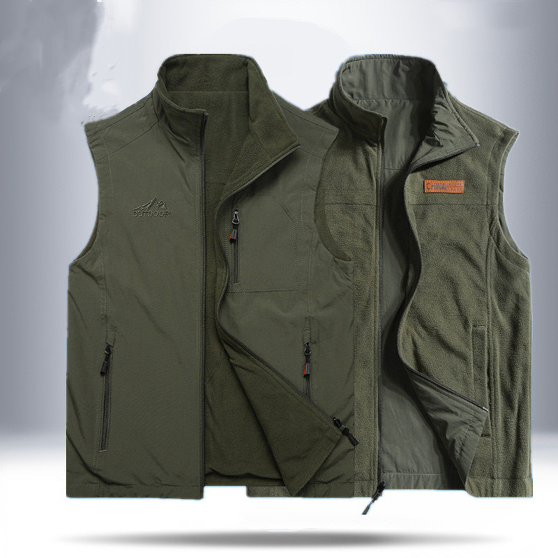 Two-sided Tactical Increase Down Clothes Spring Men's Outdoor Travel Camping Fishing Hiking Photography Sketch Shake Fleece Vest