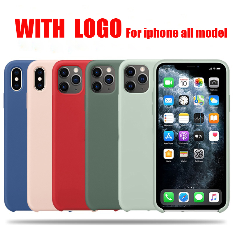 Official With LOGO Silicone Case For iphone 7 8 6 6s plus phone Case For apple iphone 11 pro max xr xs max x se 2020 Cover
