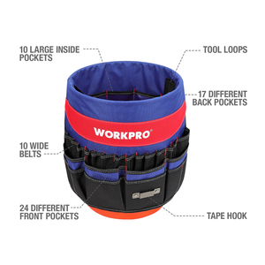 Image 2 - WORKPRO 5 Gallon Bucket Tool Organizer Bucket Boss Tool Bag with 51 Pockets Fits to 3.5 5 Gallon Bucket (Tools Excluded)
