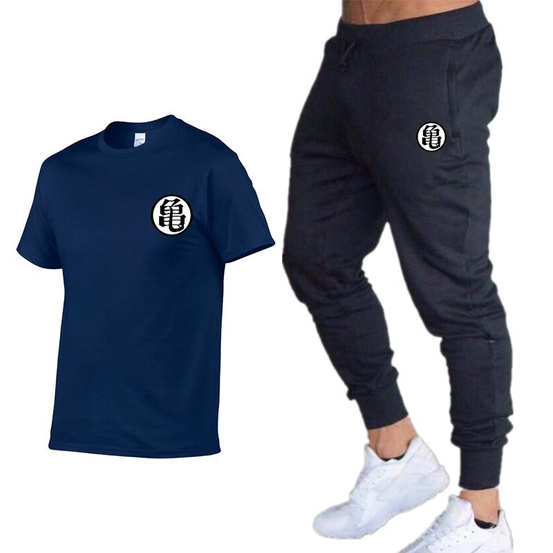 New Men's Printing T-Shirt Brand Clothing Hip Hop Men High Quality Short Sleeve Cotton100% Round Neck T-Shirt+pants Sportswear