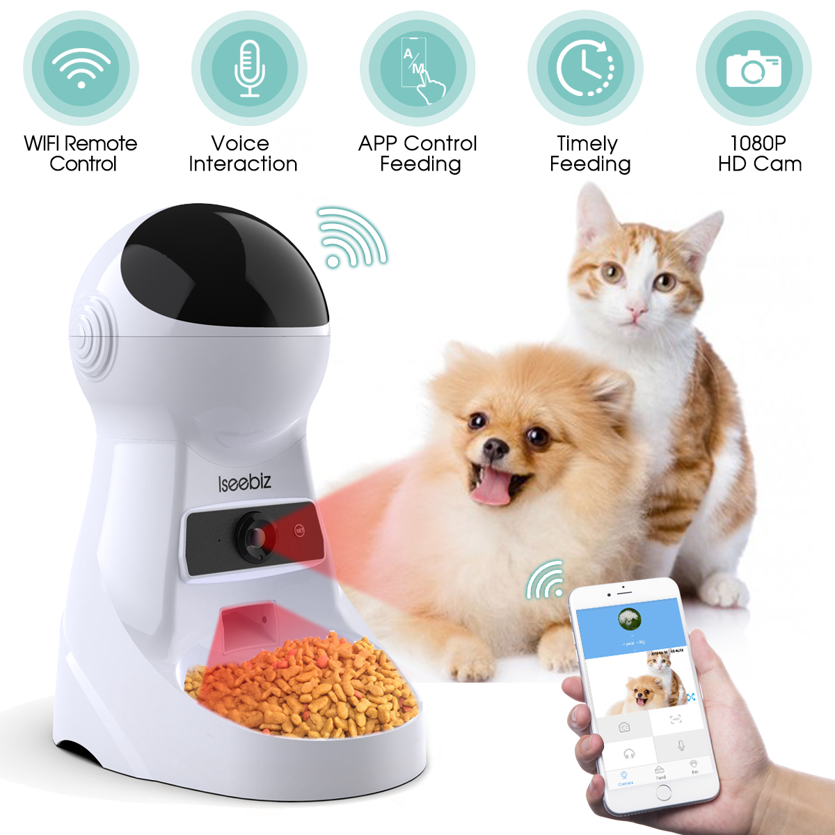 Mobile Phone - Wifi Automatic Pet Feeder 3L Pet Food Dispenser Feeder Medium and Large Cat Dog 4 Meal Voice Recorder and Timer