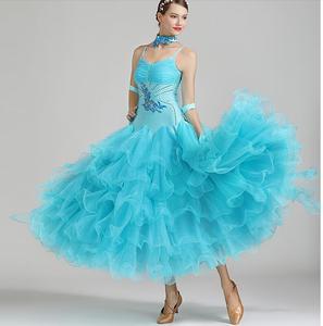 Vestido de salón de baile para chica, vestido de baile para mujer, vestido de competición de vals con cristales, azul, verde, rojo S7038