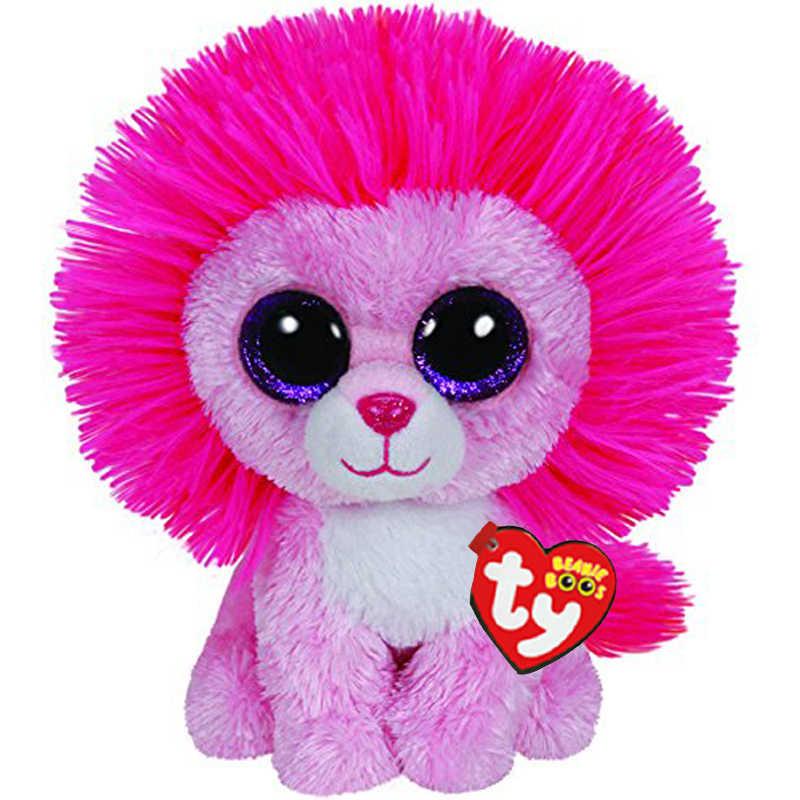 Ty beanie animais macio o brinquedo de pelúcia leão rosa 15cm