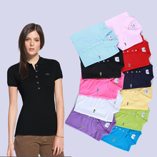 Shirts Tops Polos Long-Sleeve Female Womens Ladies Solid-Color Casual Slim Brand Cotton