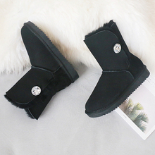 GY&YY Genuine Sheepskin Leather Snow Boots Winter Women Natural Wool Boots Suede Sheep Fur  Mid-Calf  Flat Warm Female Shoes prova perfetto sweet lace up women boots natural sheepskin leather snow boots for women real wool inside lady winter warm boots