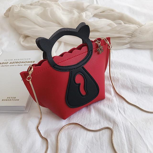 개별 고양이 체인 미니 캐주얼 가방 한국어 스타일의 새로운 스타일의 단일 어깨 싱글 어깨 가방.