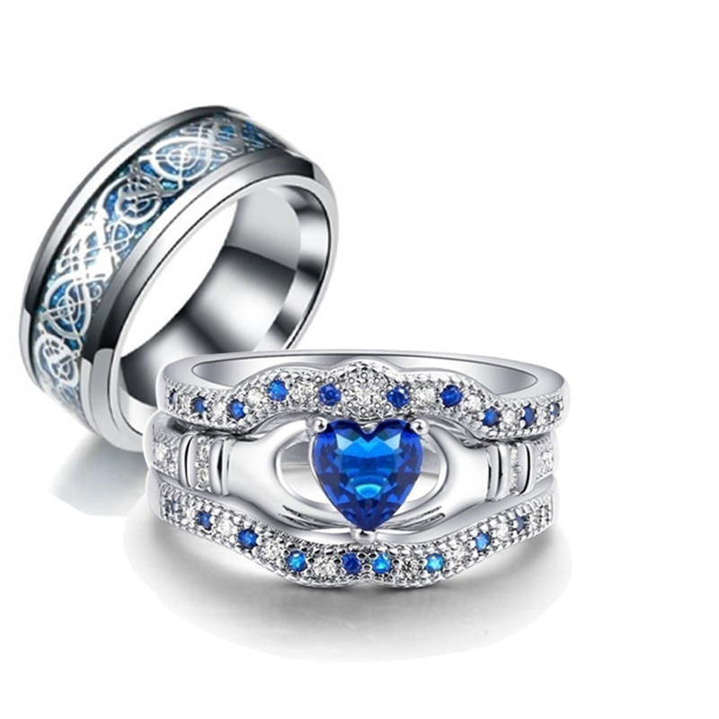 Charm Couple Ring Purple Blue Crystal Wedding Rings Women Jewelry Gift Size 6-13