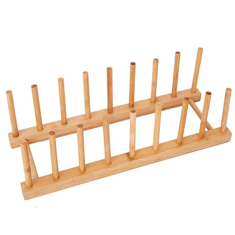 Bamboo Dish Plate Bowl Cup Book Pot Lid Cutting Board Drying Rack Stand Drainer Storage Holder Organizer Kitchen Cabinet(Keep Dr|Racks & Holders| |  - title=