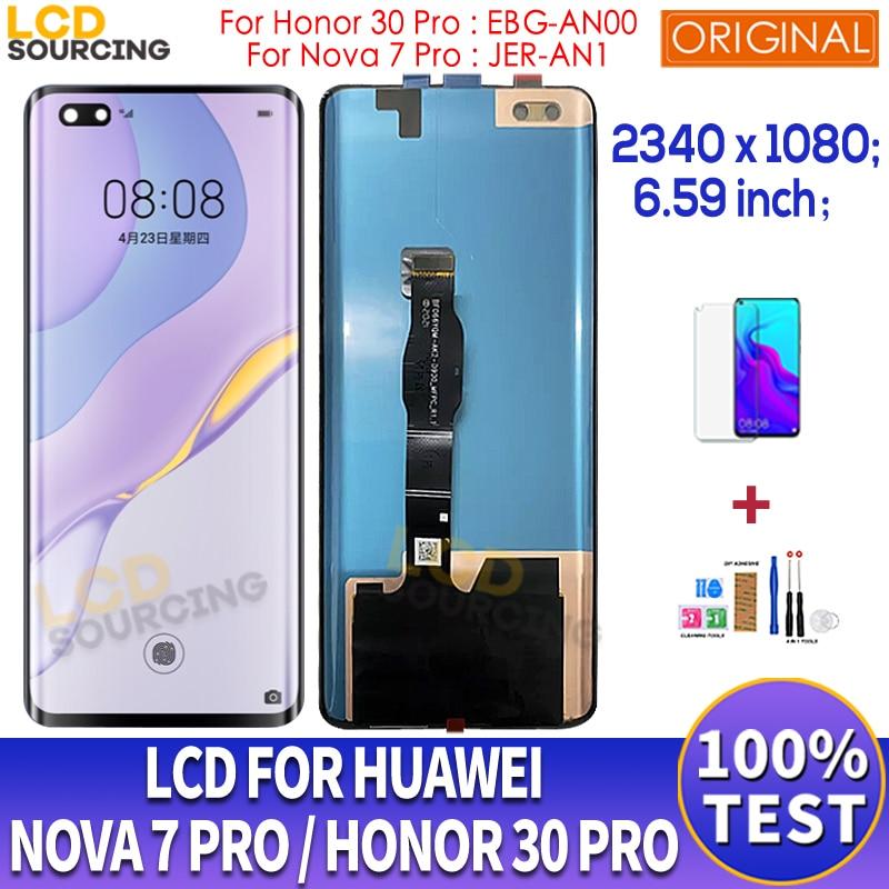 6.59 original lcd original para huawei nova 7 pro JER-AN1 display lcd de toque digitador da tela para huawei honor 30 pro lcd EBG-AN00 substituir