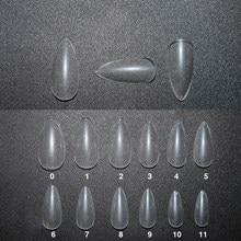 500 pçs/saco longo de amêndoa stiletto unhas falsas dicas cobertura completa profissional falso ponta da arte do prego transparente diy ferramentas salão manicure