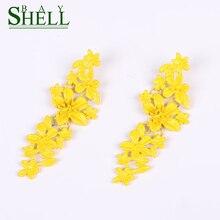 Shell Bay 2020 Metal Flower Earrings For Women Fashion Earrings Jewelry Boho Punk Long Gold Earrings Tassel Floral Gift Cute CC