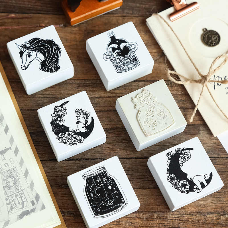 Retro Unicorn Wood Stamps Lucky Day Happy Birthday Craft DIY Handmade Wood Rubber Stamps for Unicorn Party Birthday Decoration