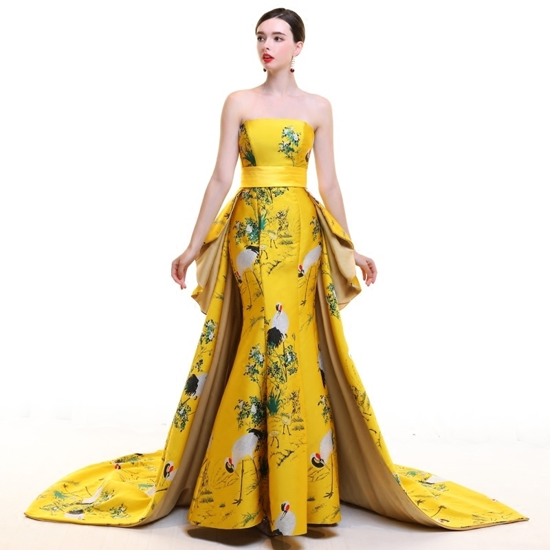 Strapless Trailing Evening Gown Party Dresses Chinese Traditional Wedding Dress Yellow Stain Long Cheongsam Modern Qipao Sexy