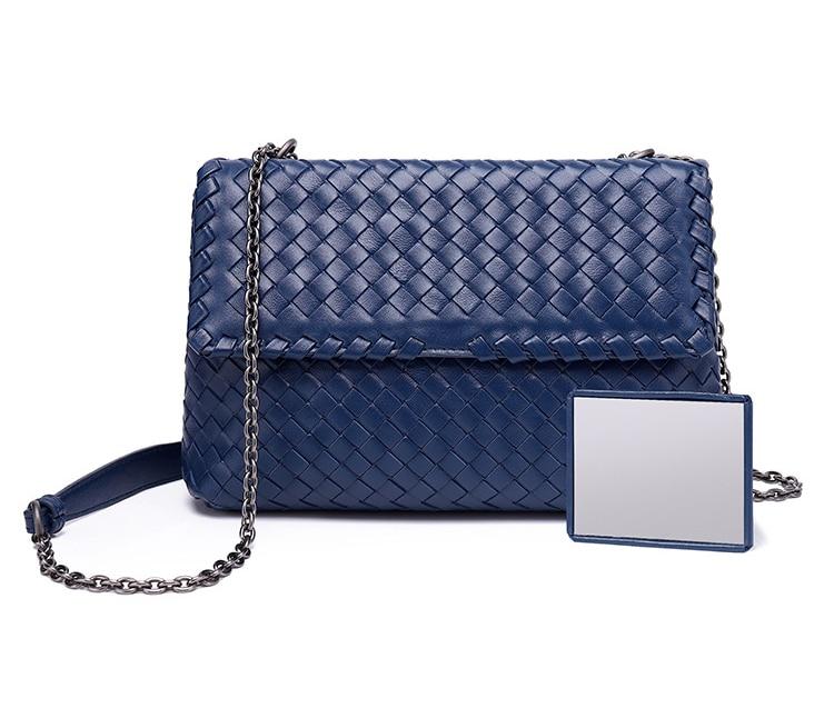 Bolsa feminina de couro macio corrente bolsa