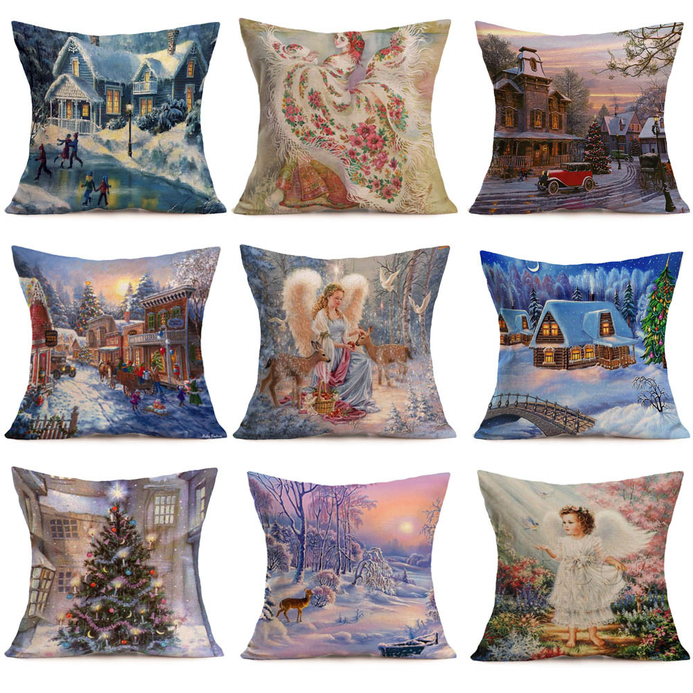 Ouneed 1 PC Pillow case Merry Christmas Linen Pillow Cases Sofa Cushion Cover Home Decoration pillow cover cushion 45x45cm