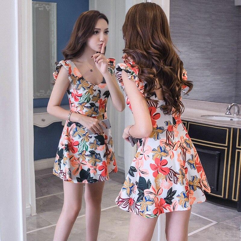 Summer Wear 2018 New Style Women's Evening Show Sexy WOMEN'S Dress Korean-style Elegant Printed High-waisted A- Line Dress