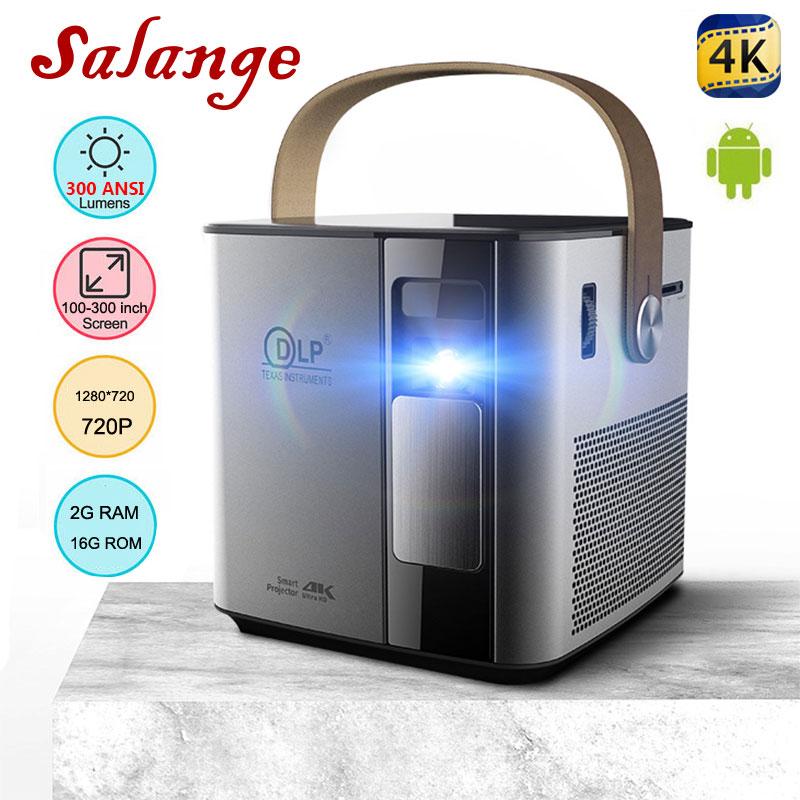 Salange P12 Mini Video Projecteur 4K, 1280x720 3D FULL HD 1080P Android WIFI HDMI USB DLP Portable Projecteur 12000mAh batterie