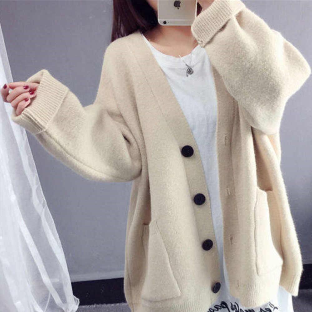 2019 вязаный женский свитер кардиган Белый Повседневный Кардиган рукав «летучая мышь» с v-образным вырезом зимняя одежда негабаритный Свободный кардиган на пуговицах