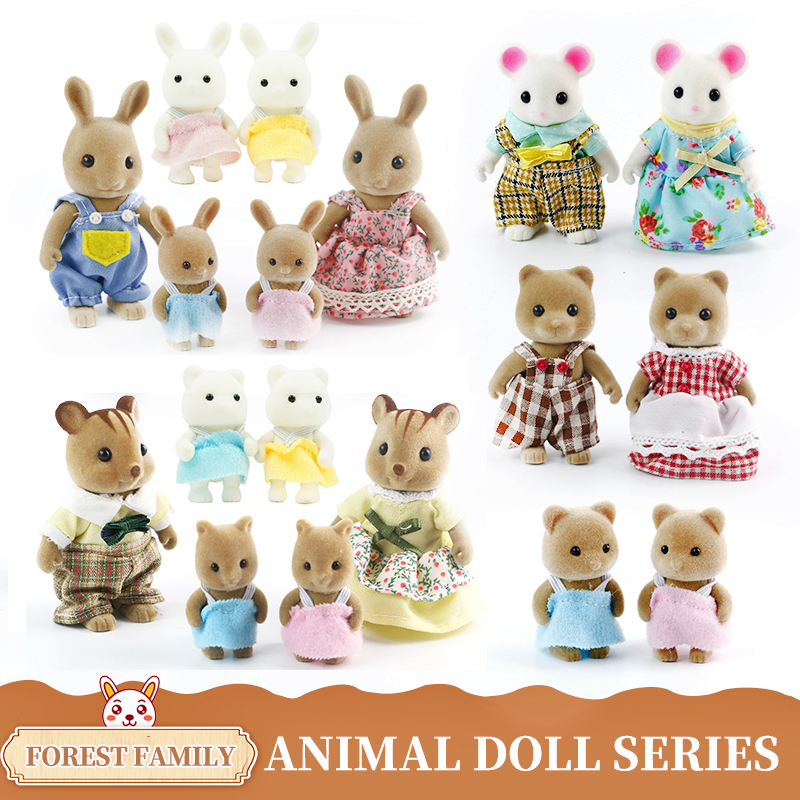 Forest Animal Family Children's Simulation Toy Rabbit Bear Panda Doll Girl Play House Doll Set