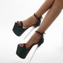 Dijigirls sexy mulher super sandálias de salto alto 20 cm diabo sandálias mulher bombas stripper sapato tubo de aço sapatos de dança mais tamanho 42