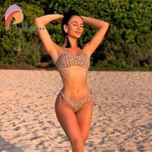 Andzhelika 2020 새로운 섹시한 레오파드 비키니 여성 수영복 위로 비키니 세트 백 레스 수영복 브라질 비치 수영복 Biquini