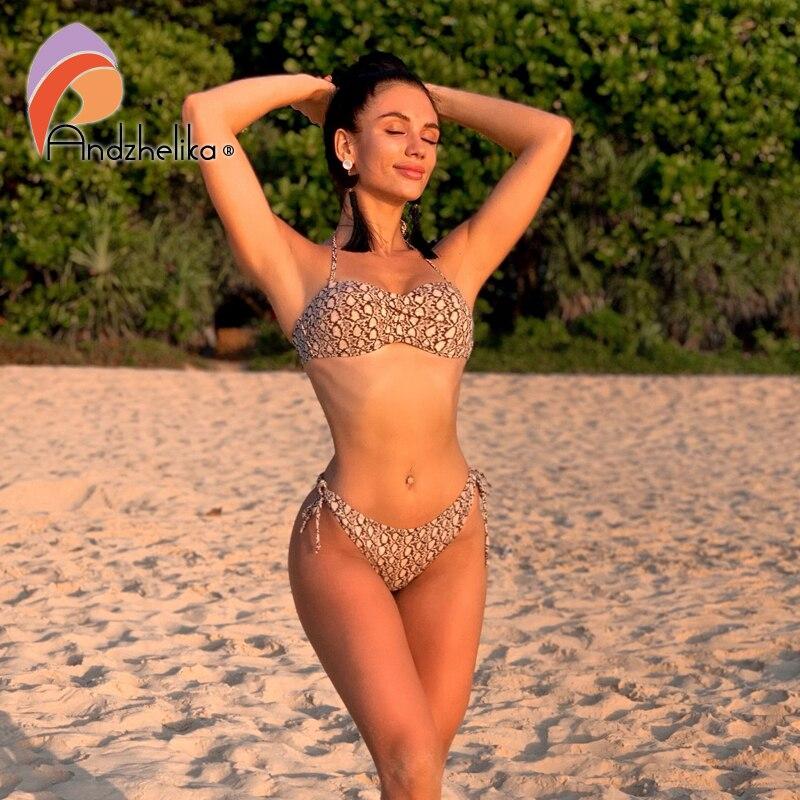 Andzhelika 2020 New Sexy Leopard Bikini Women Swimsuit Push Up Bikini Set Backless Swimwear Brazilian Beach Bathing Suit Biquini
