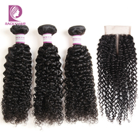 Racily Hair Brazilian Kinky Curly Hair With Closure Remy 3/4 Bundles With Lace Closure Human Hair Weave Bundles With Closure
