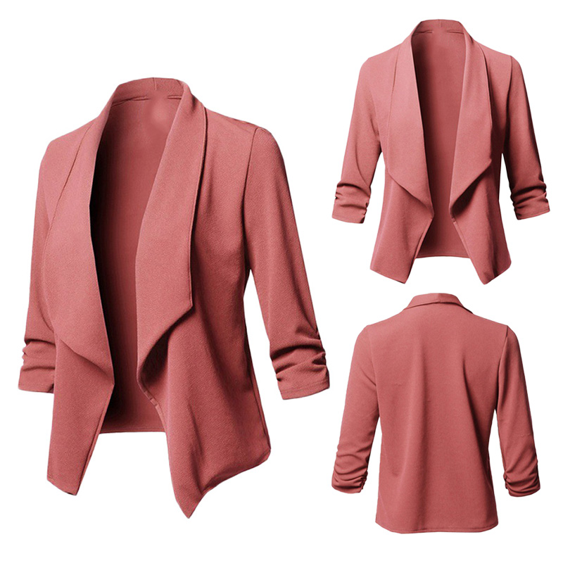 Women Coat Fashion Women Slim OL Suit Casual Blazer Long Sleeves Pleated Solid Color Wild Small Suit Blazers Jacket Outwear