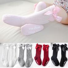 Menina arco meias longas crianças antiderrapante meias bowknet princesa menina joelho alta meia para meninas bonito bunching algodão bebê meia 0-4 yea