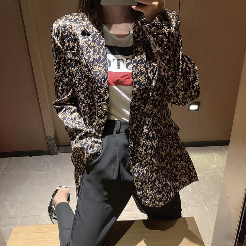 Cheerart Autumn Brown Blazer Women Fashion Ladies Blazers Femme Floral Long Blazers And Jackets Coat Fall 2019 Clothes