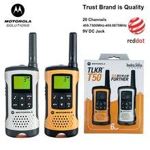 Motorola TLKR T50 Walkie Talkie 20 ช่อง 6KM ระยะทางกลางแจ้ง Walkie Talkie รองรับแบตเตอรี่ Ni MH แบตเตอรี่ AAA